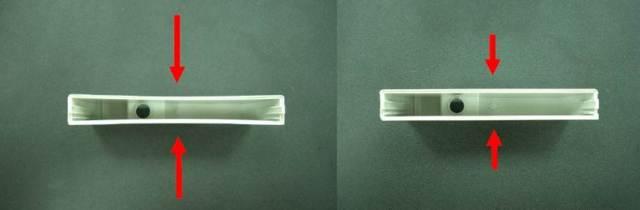 Sản phẩm nhựa trước(bên trái) và sau khi dùng phần mềm Moldex3D(bên phải) tìm giải pháp xử lý cong vênh.