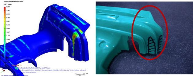 Phân tích mô phỏng trên Moldex3D xác định vị trí lõm bề mặt tối đa tương quan tốt với kết quả đúc thực tế